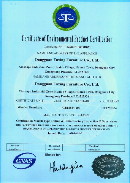 China Dongguan Fuxing Furniture Co., Ltd. Certificaciones